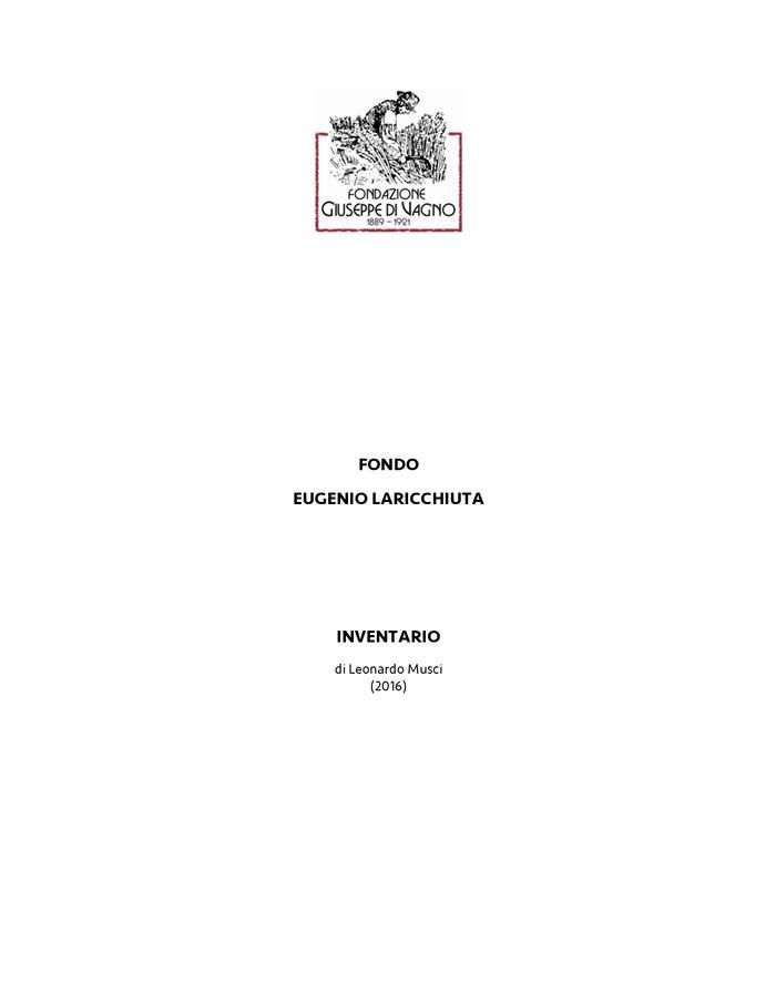 Inventario del fondo Eugenio Laricchiuta